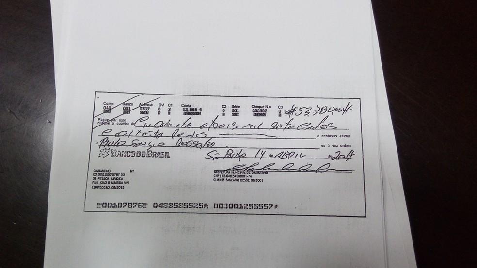 Conforme a prefeitura, cheques foram preenchidos de forma diferente que a adotada pelo município (Foto: Assessoria/ Prefeitura de Diamantino - MT)