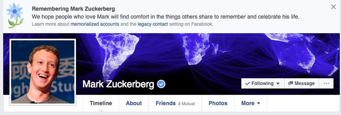 Fundador do Facebook apareceu com memorial póstumo na rede social em novembro (Foto: Reprodução/Business Insider)