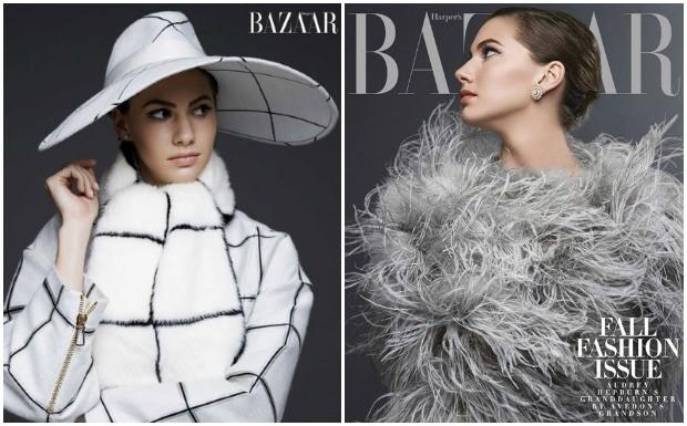 Neta Audrey Hepburn na Harper's Bazaar (Foto: Divulgao )
