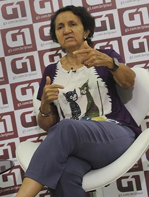 G1 entrevista nesta quarta (27) a candidata Lourdes Melo (Foto: Jaqueliny Siqueira/ G1)