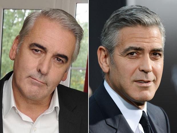 O britânico Gary Tate, que 'atua' como sósia de George Clooney, e o ator durante evento em 1º de outubro de 2013 (Foto: Divulgação/Facebook/Gary Tate e Evan Agostini/Invision/AP)
