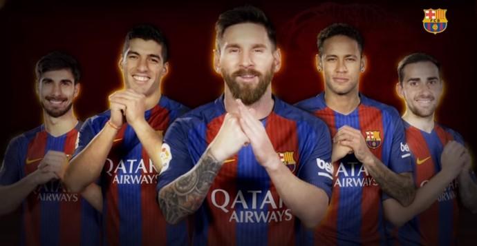 Jogadores do Barça enviam mensagens em mandarim pelo ano novo chinês (Foto: Reprodução SporTV)