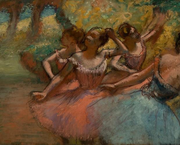 """A obra """"Quatro Bailarinas em Cena"""" de Edgar Degas está exposta no MASP (Foto: Domingão do Faustão/TV Globo)"""