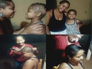 Mãe raspou o cabelo para ficar igual a filha (Foto: Daniela Alves/Arquivo Pessoal)