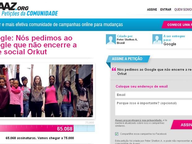 Estudanteda Paraíba defende manunteção do Orkut por causa dos debates promovidos nas comunidades (Foto: Reprodução/ Avaaz.org)