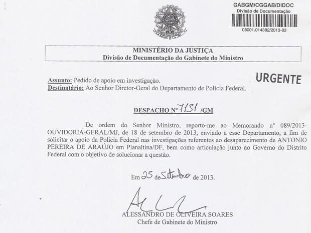 Reprodução do despacho do Ministério da Justiça à Polícia Federal (Foto: Reprodução)