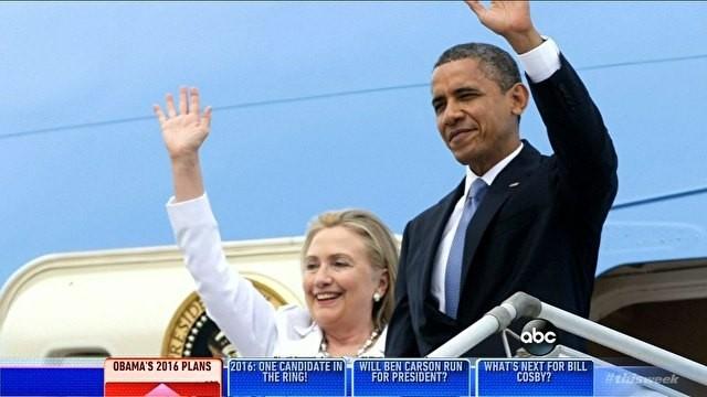 Barack Obama e Hillary Clinton  (Foto: reprodução GloboNews)