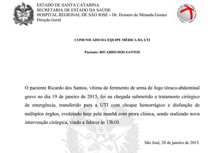 nota oficial morte ricardo dos santos surfe (Foto: Divulgação)