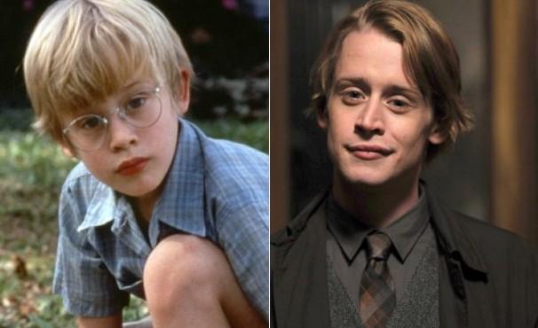 Macaulay Culkin, aos 11 anos, no filme 'Meu Primeiro Amor', e aos 29, na série 'Kings', um dos seus últimos trabalhos (Foto: Divulgação / Reprodução)