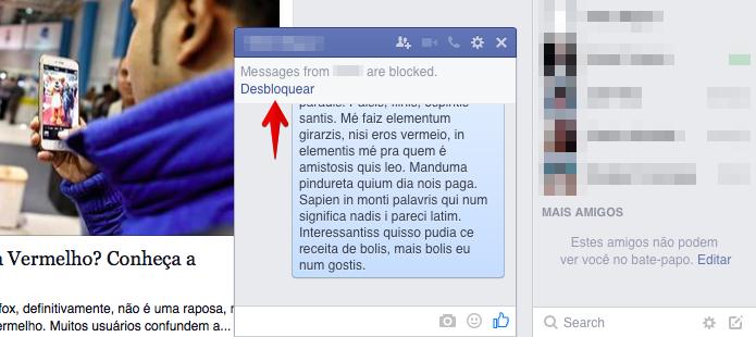 Desbloqueando mensagens de um amigo (Foto: Reprodução/Helito Bijora)