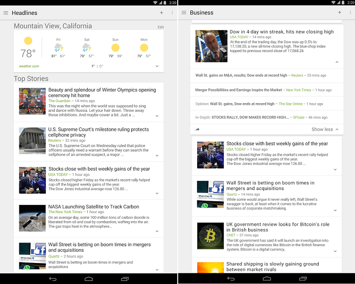 Google News & Weather exibe informações de determinados assuntos (Foto: Divulgação/Google News & Weather)