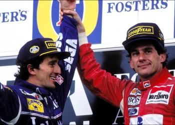 Alain Prost Ayrton Senna pódio GP da Austrália de Fórmula 1993 (Foto: Agência Getty Images)