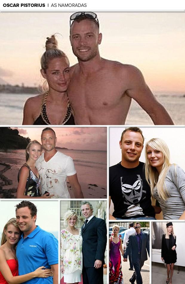 MOsaico Oscar Pistorius e as namoradas (Foto: Reprodução / Daily Mail)