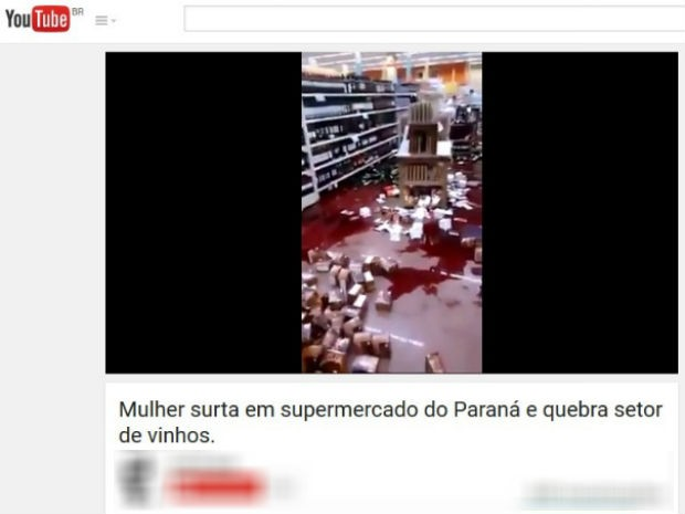 Vídeo publicado no Youtube nesta sexta-feira (21) mostra a quebradeira no mercado (Foto: Reprodução/Youtube)
