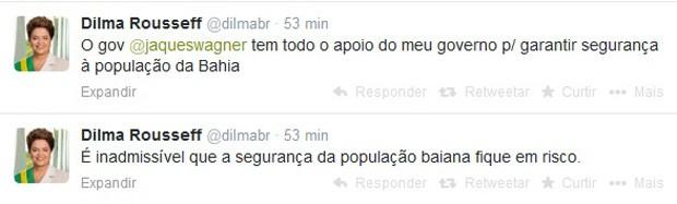 Dilma criticou no Twitter a paralisação de policias militares baianos (Foto: Reprodução)