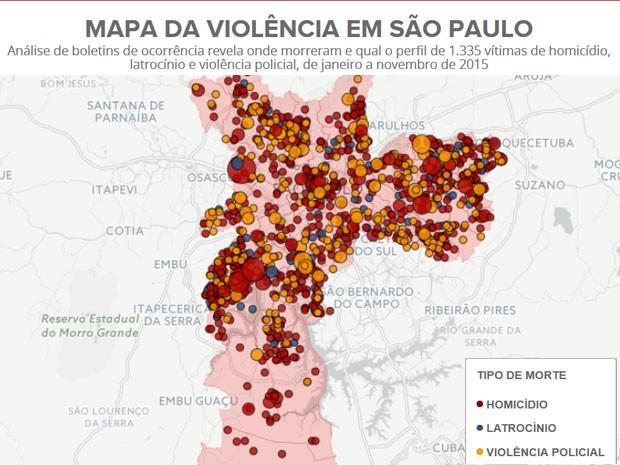 Mapa da violência em São Paulo (Foto: Editoria de Arte/G1)