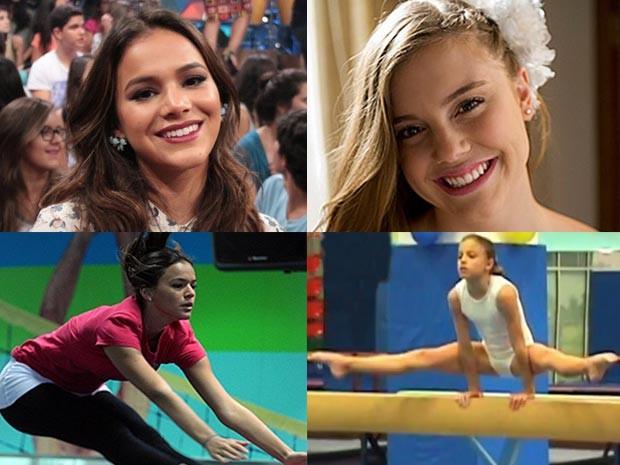 Bruna Marquezine e Alice Wegmann empenhadas nas aulas de ginástica olímpica  (Foto: Arquivo pessoal / Gshow)
