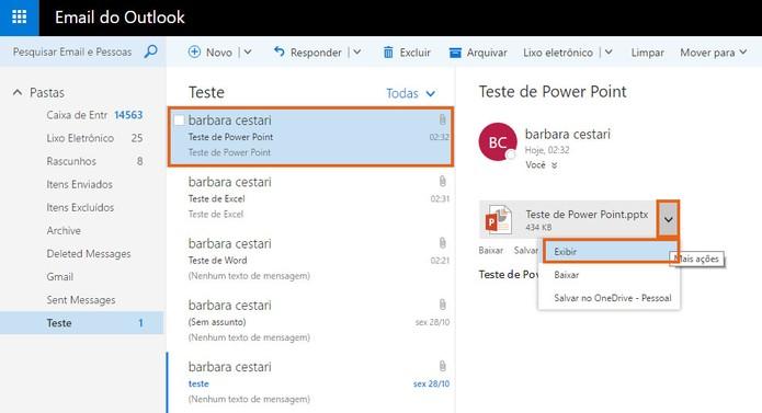 Encontre o anexo da apresentação do PowerPoint no Outlook (Foto: Reprodução/Barbara Mannara)