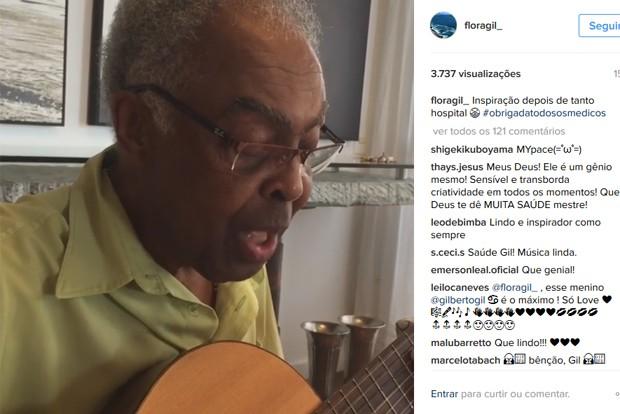 Gilberto Gil em vídeo no perfil de sua mulher Flora, canta música para sua médica (Foto: Reprodução / Instagram)