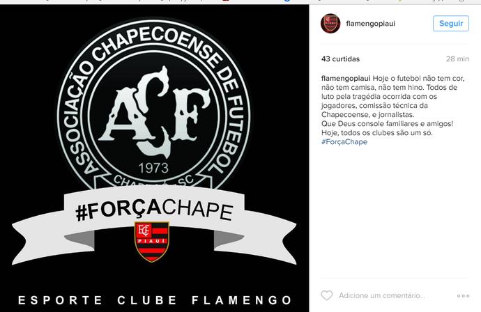 Flamengo-PI lamenta acidente Chapecoense (Foto: Reprodução/Instagram)