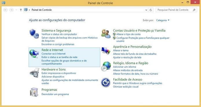 Painel de Controle do Windows 8 (Foto: Reprodução/Raquel Freire)