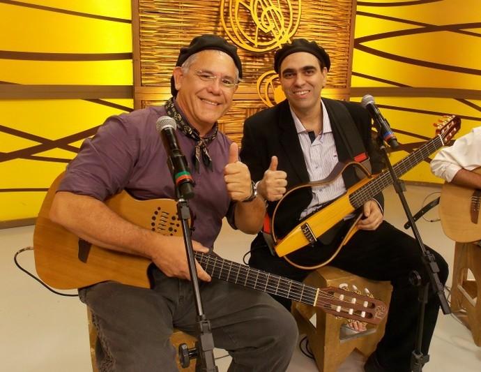 Mauro Moraes e Cesar Santos no Galpão Crioulo (Foto: Andrielle Santos/RBS TV)