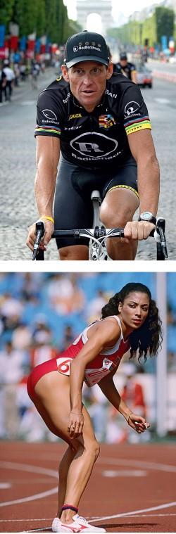 A SOMBRA DE UMA DÚVIDA  Armstrong (no alto) foi pego apesar de passar por mais de 200 testes antidoping. Florence morreu, aos 38 anos, sob suspeita (Foto: Francois Lenoir/AFP e Tony Duffy/Allsport)