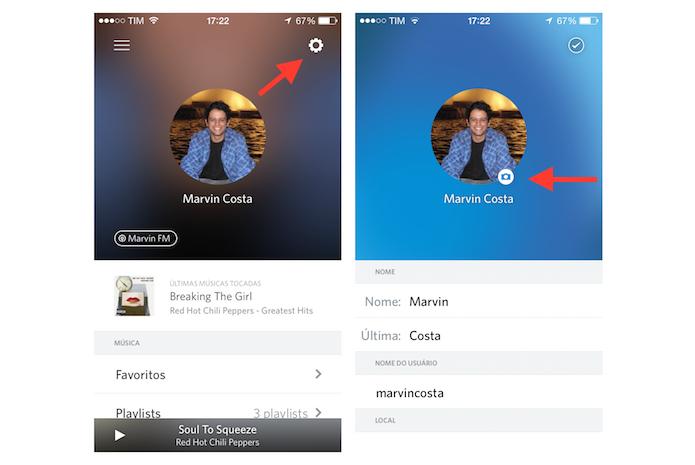 Acessando a edição de perfil do Rdio para iPhone (Foto: Reprodução/Marvin Costa)