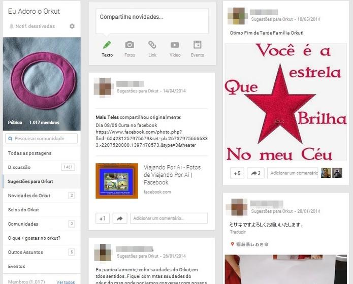 É possível encontrar semelhanças entre comunidades do Orkut e do Google+, mas usuários pedem que Orkut seja mantido (Foto: Reprodução/PauloFinotti/Google+)