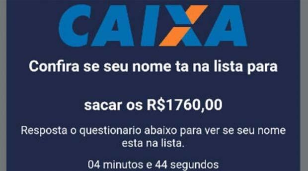 No golpe, a vítima recebe uma mensagem pelo WhatsApp com um link que permitira conferir se está apto a receber R$ 1,7 mil do FGTS (Foto: Reprodução)