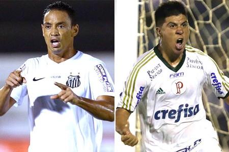 Montagem Ricardo Oliveira X Cristaldo - Santos X Palmeiras (Foto: GloboEsporte.com)