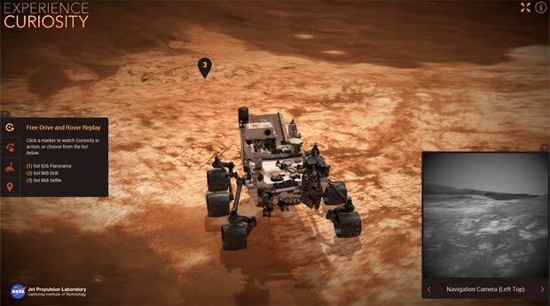 O Experience Curiosity permite navegar o robô Curiosity em Marte (Foto: Reprodução/ Experience Curiosity)