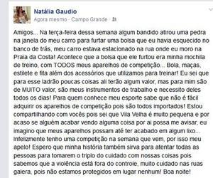 Natalia Gaudio apelo roubo facebook (Foto: Divulgação / Facebook Oficial)