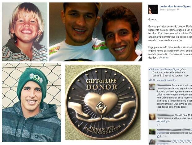 print Junior Cigano doação de órgãos