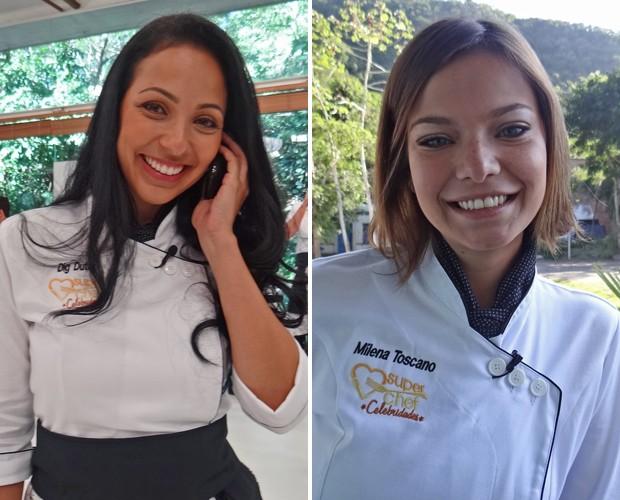 Dig Dutra e Milena Toscano conversam com o site nos bastidores do Mais Você (Foto: Mais Você / TV Globo)