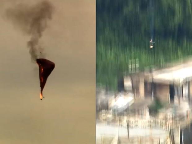 Balão pegou fogo e caiu em área próxima a barracos (Foto: TV Globo/Reprodução)