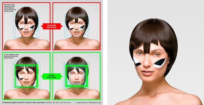 Maquiagem no local certo pode enganar reconhecimento facial (foto: Reprodução/CV Dazzle)