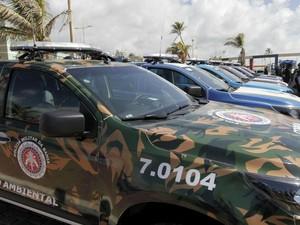 Novas viaturas foram entregues para polícia civil, militar, e bombeiros (Foto: Alberto Coutinho / GOVBA)