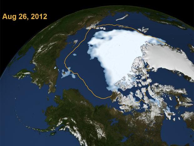 Mapa mostra encolhimento do gelo no Oceano Ártico desde 1979, segundo medição por satélite da Nasa (Foto: Nasa/Divulgação)