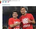 10 + 10 = 100. Roma publica foto de Maradona com Totti no Jogo pela Paz