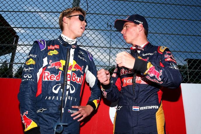 Dannil Kvyat e Max Verstappen no GP da Bélgica de 2015 (Foto: Getty Images)