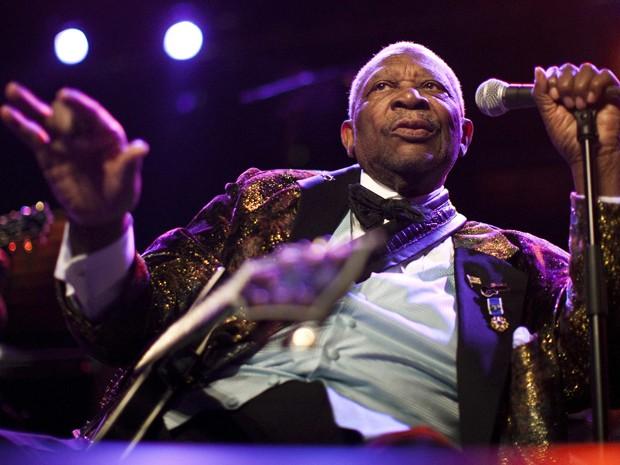 O ícone do blues americano B.B. King se apresenta neste sábado (2) no Montreux Jazz Festival, na Suíça. Ele é uma das 350 atrações do evento, que tem na programação Jimmy Cliff e Carlos Santana (Foto: Reuters/Valentin Flauraud)