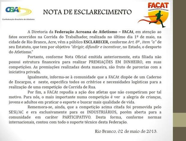 Nota de esclarecimento Facat (Foto: Divulgação)
