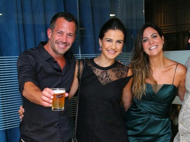 Malvino Salvador, Kyra Gracie e Carol Sampaio em evento na Barra da Tijuca, Zona Oeste do Rio (Foto: Anderson Borde/ Ag. News)