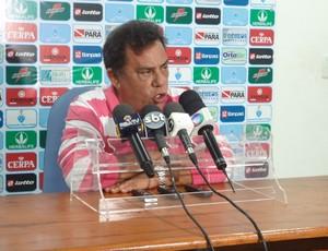 Luiz Omar Pinheiro, presidente do Paysandu, em entrevista coletiva. (Foto: GLOBOESPORTE.COM/PA)