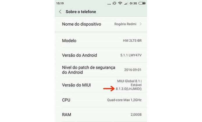 Redmi 2 ou Pro dever ter MIUI 8.1.1.0 ou superior (Foto: Reprodução/Raquel Freire)
