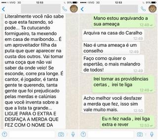 Print de aplicativo de conversa entre Jonathan Costa e Timotinho (Foto: Reprodução)