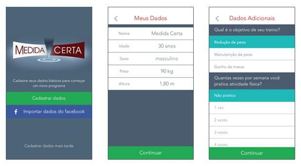 Tutorial aplicativo Medida Certa cadastro (Foto: Rede Globo)