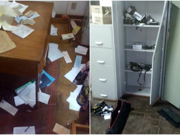 Bandidos espalharam documentos em busca de dinheiro em centro de formação em Rio Branco (Foto: Malu Oacha/Arquivo pessoal)