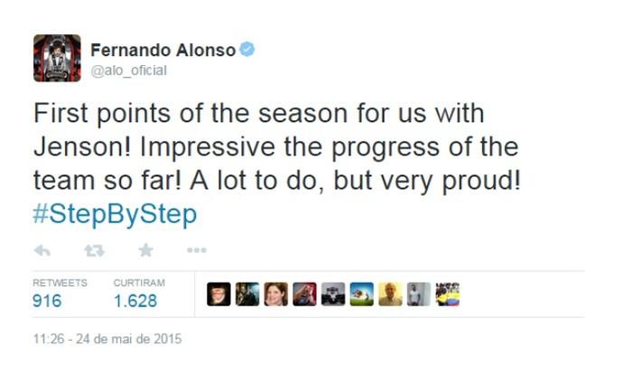 Apesar de abandonar a prova, Fernando Alonso ficou feliz com a McLaren (Foto: Reprodução)